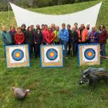 Group with archery targets bow and arrow at Archery Park Nelson