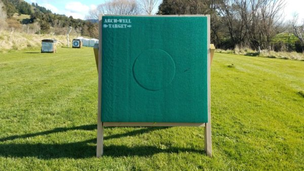 Arch-Well Archery Target, Square 1m by 1m and 20cm thick. It has a replaceable 40cm core. Front view.