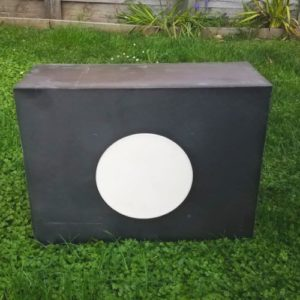 Target block with replaceable core front.