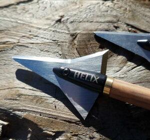 Helix Broadhead hunting arrow blade, mounted on arrow.