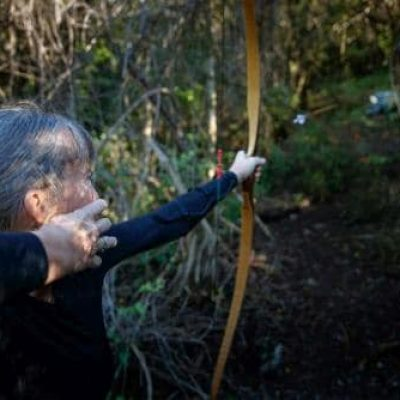 Arrow shot from a longbow in mid-flight at Archery Park Nelson